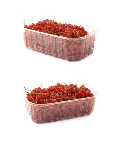 Plastic box of red currant isolated