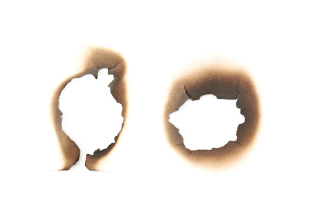 Paper burn mark stain isolated Stock Photo