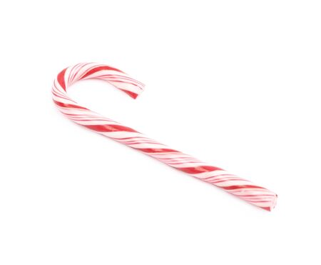 Christmas sweet candy cane isolated over the white background Stock Photo