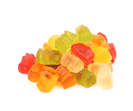 Pile of gummy bear candies isolated