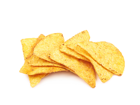 Pile of tortilla chips isolated Stock Photo