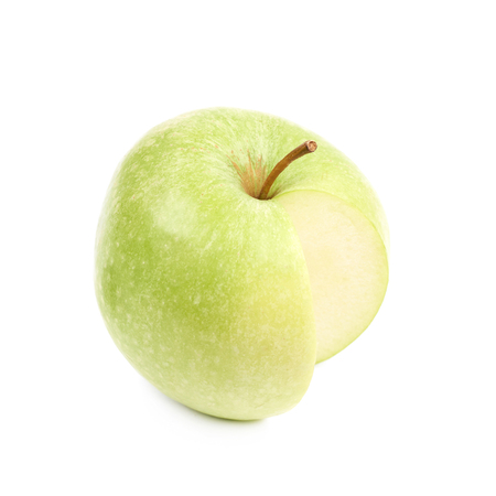 Measured portion of exactly hundred calories of the granny smith green apple isolated over the white background