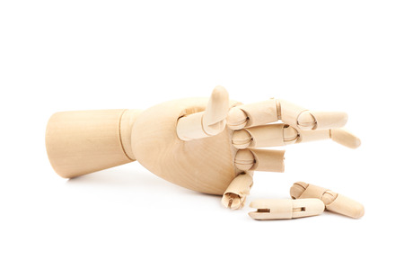 Wooden joint model of hand