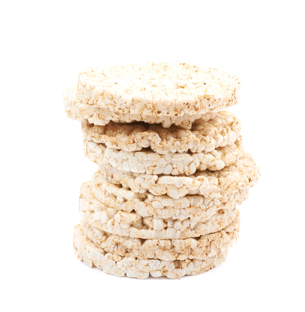 Air popped rice cakes isolated over the white background