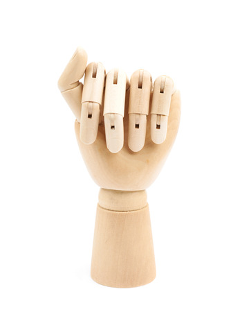Wooden hinge joint model of hand as a drawing reference, composition isolated over the white background Stock Photo
