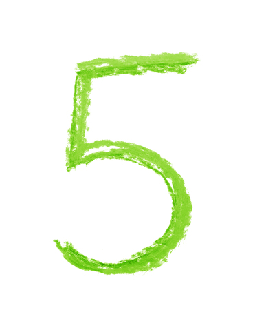 Hand drawn with the colorful chalks number five symbol isolated over the white background Stock Photo