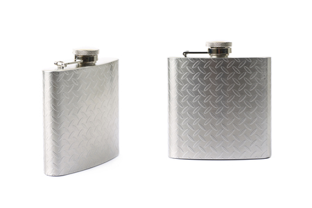 Chrome metal drinking flask isolated over the white background , set of several different foreshortenings Stok Fotoğraf