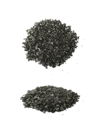 Pile of black salt crystals isolated over the white background , set of several different foreshortenings Stock Photo