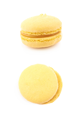 Single macaroon candy isolated over the white background , set of several different foreshortenings
