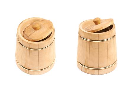 Rustic wooden beer mug isolated