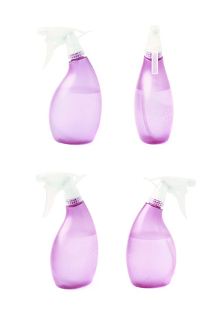 Violet plastic pulverizer spray isolated over the white background, set of four different foreshortenings