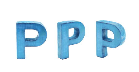 Single sawn wooden P letter symbol in different angles and foreshortenings isolated over the white background