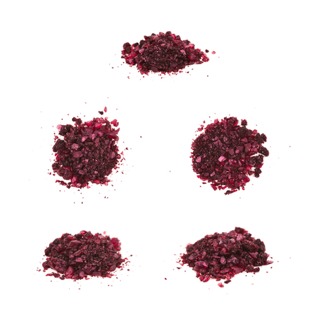Pile of colored chemical salt crystals isolated over the white background, set of five different foreshortenings