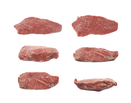 Single slice of beef meat isolated over the white background, set of six different foreshortenings