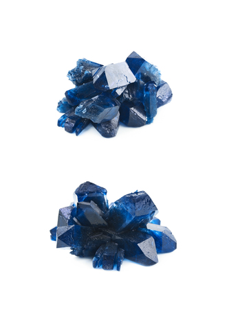 Grown crystal of blue colored salt isolated over the white background, set of two different foreshortenings