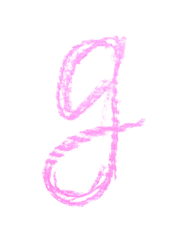 Single hand drawn with the chalk G letter isolated over the white background