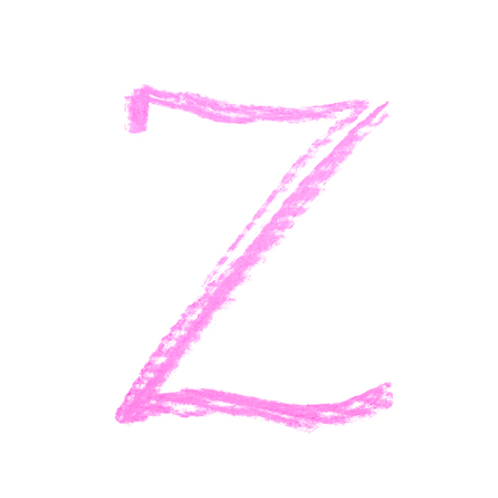 Single hand drawn with the chalk Z letter isolated over the white background Stock Photo