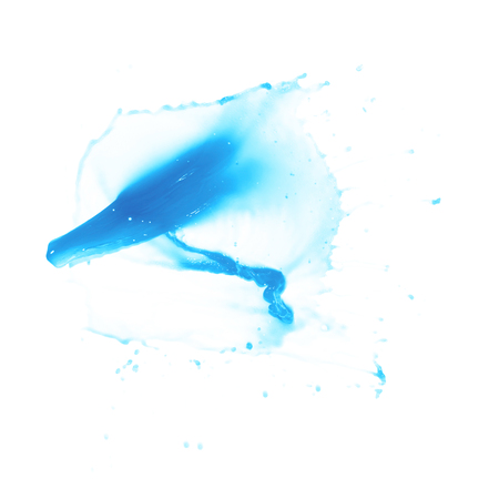Splash of transparent liquid in motion isolated over the white background Stock Photo