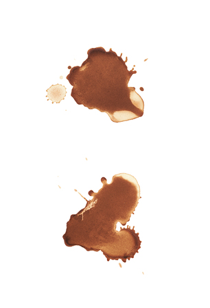Dried coffee stain isolated over the white surface , set of several images