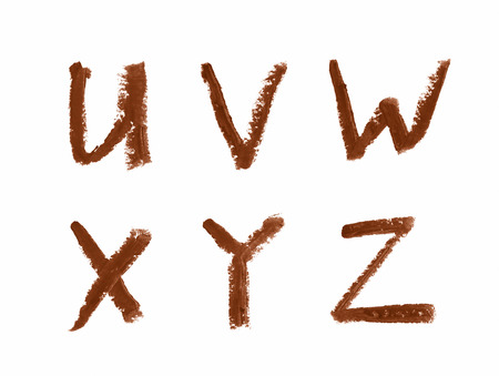 Set of abc latin letter characters written with a wax crayon isolated over the white background