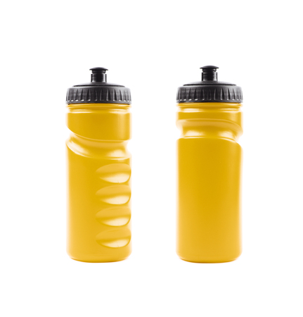 Yellow plastic sport water bottle isolated over the white background, set of two different foreshortenings