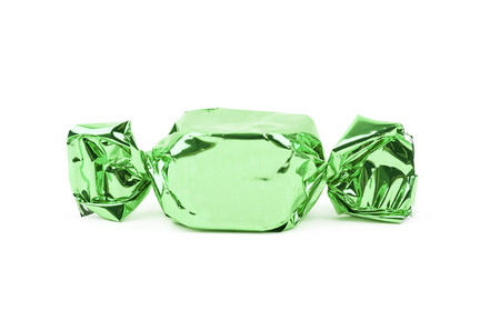 Wrapped candy isolated over the white background
