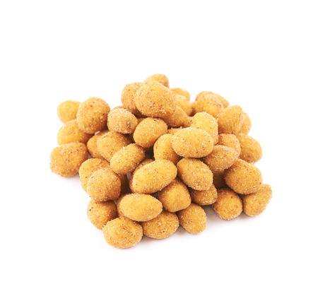 Pile of breadcrumb coated spiced nuts isolated over the white background Stock fotó