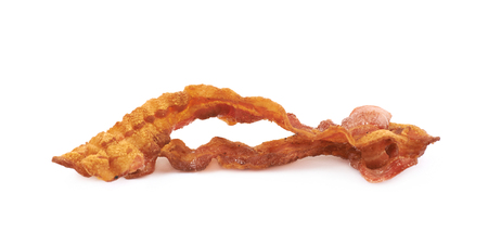Fried bacon composition isolated over the white background Stock Photo