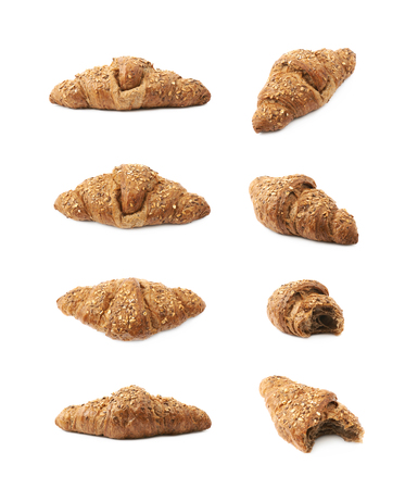 Salty croissant pastry isolated over the white background , set of several different images