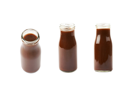 Bottle jar of barbecue sauce condiment isolated over the white background, set of a few different foreshortenings