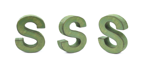 Single sawn wooden S letter symbol in different angles and foreshortenings isolated over the white background