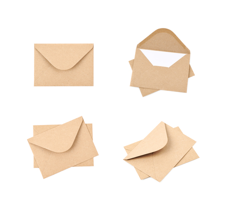 Envelope made of brown recycled paper isolated over the white background, set of four different foreshortenings