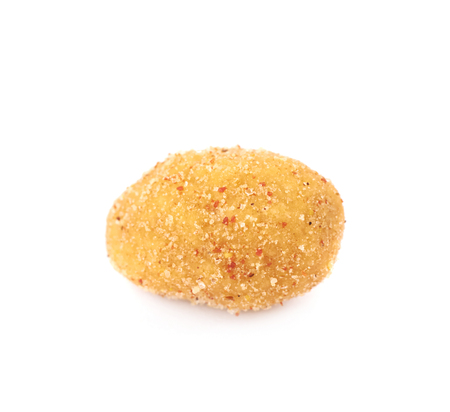 Breadcrumb coated spiced nut isolated over the white background