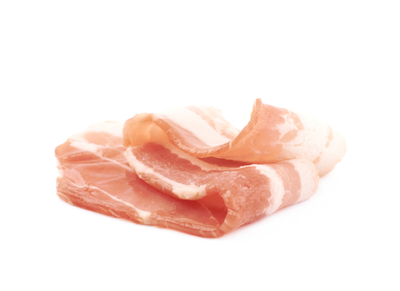 Raw bacon composition isolated over the white background 版權商用圖片
