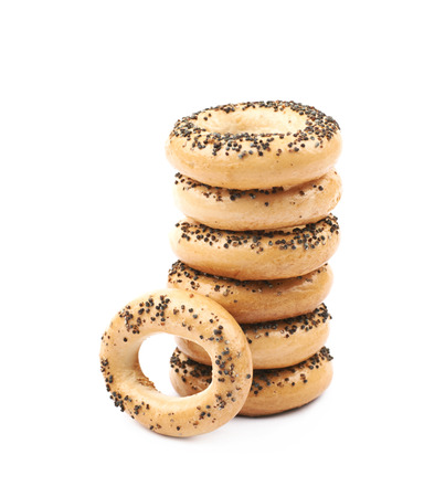 Poppy seeds bagel isolated