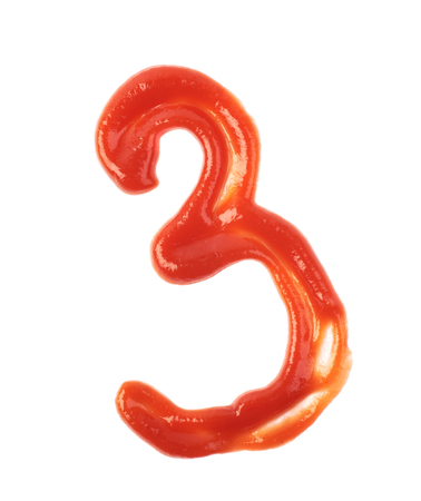 Single number made of sauce isolated