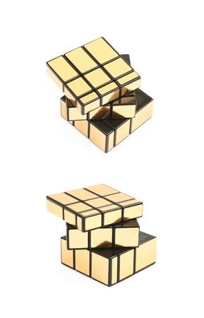 Variation of a puzzle cube isolated Stock Photo