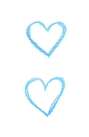 Hand drawn with a colorful chalks heart shape isolated over the white background, set of two different foreshortenings Archivio Fotografico