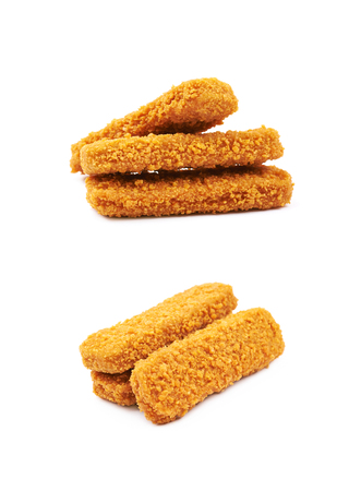 Fish stick in breadcrumbs isolated over the white background, set of two different foreshortenings