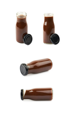 Bottle jar of barbecue sauce isolated