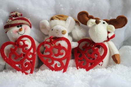 Christmas puppies with red heart photo