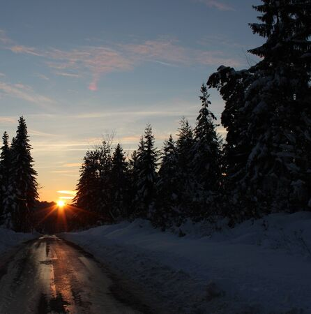 road in winter: Road, strada di inverno