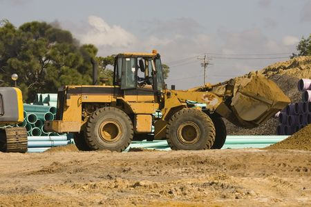 frontend: A frontend loader at work Stock Photo