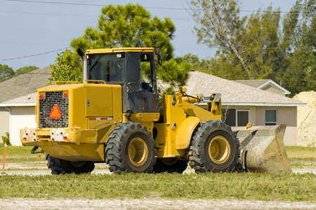 front end: Front end loader at rest during lunch Stock Photo