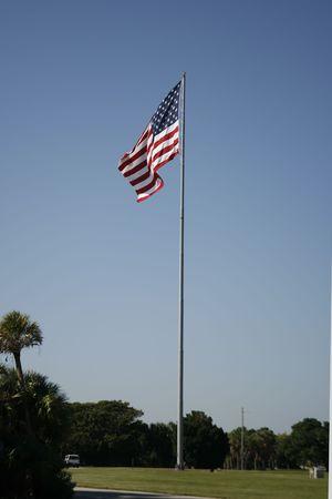 フィート デソト、フロリダ州でアメリカの国旗 写真素材