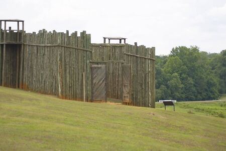 stockade: A reproduction of the front gates and gun towers at Andersonville prison