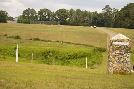 reb: Stone piling marks the southeast corner of Andersonville prison Stock Photo
