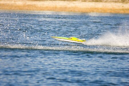 rc: An RC model boat goes airborne