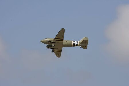 A militart model radio controlled C-47 does a flyby Stock Photo