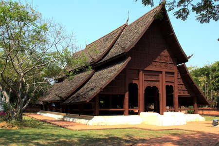 lanna: Old wooden Lanna style temple.